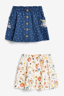 Denim Blue 2 Pack Organic Cotton Skirts (3mths-7yrs)