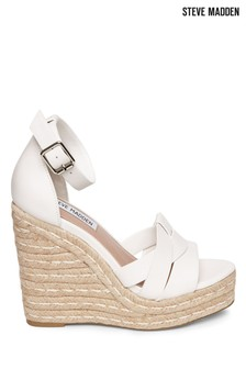 Steve Madden White Leather Wedges