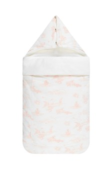 Baby Girls Ivory & Pink Cotton Padded Nest Sleep Bag