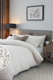 Cream Borg Fleece Duvet Cover and Pillowcase Set