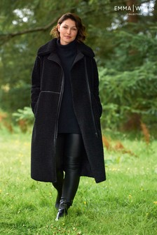 Black Emma Willis Teddy Borg Coat