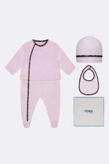 Girls Pink Cotton Logo Babygrow Gift Set