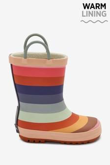 Muted Rainbow Stripe Handle Wellies