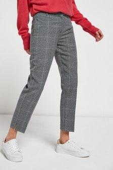 Grey Check Slim Trousers