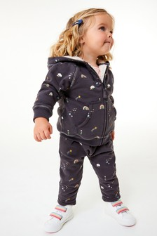 Charcoal Rainbow Fleece Lined Hoody Soft Touch Jersey (3mths-7yrs)