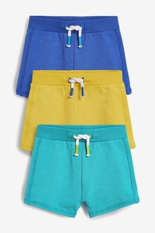 Blue/Yellow 3 Pack Stretch Shorts (0mths-2yrs)