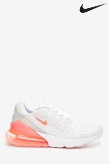 Nike White/Orange Air Max 270 Trainers