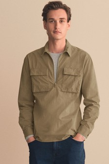 Stone Lightweight Half Zip Shacket