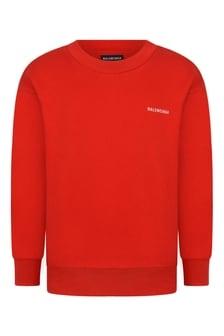 Kids Red Cotton Logo Sweater