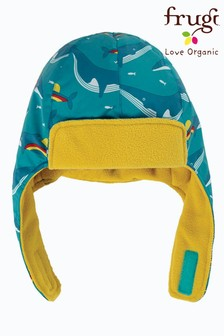 Frugi Blue Recycled Fleece Lined Trapper Hat - Rainbow Whales