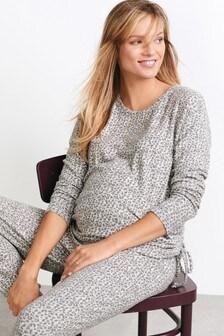 Grey Marl Animal Print Maternity Cosy Sweater