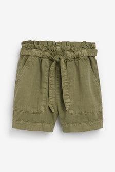 Khaki Paperbag Waist Shorts (3-16yrs)