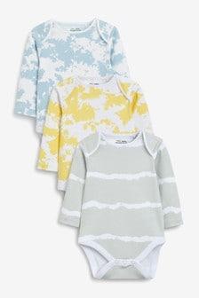 Tie Dye Long Sleeve Bodysuits 3 Pack (0mths-3yrs)