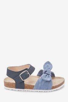 Blue Corkbed Bow Sandals (Younger)
