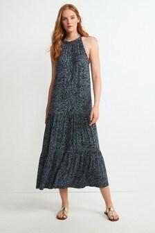 Blue Animal Halterneck Dress