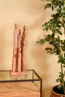 Libra Six Standing Figures Abstract Wooden Sculpture