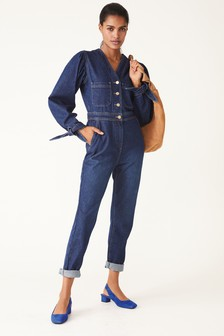 Dark Blue Tie Sleeve V-Neck Boilersuit