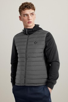 Black Jersey Sleeve Quilted Hooded Jacket