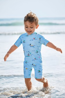 Blue Printed Sunsafe Swimsuit (3mths-7yrs)