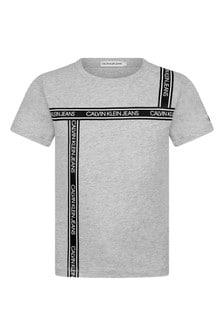 Boys Grey Organic Cotton Logo Tape T-Shirt