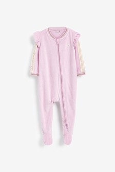Pink Sporty Velour Sleepsuit (0mths-3yrs)