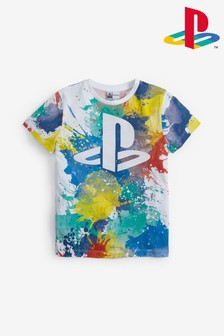 White PlayStation™ Splat T-Shirt (3-16yrs)
