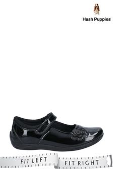 Hush Puppies Black Jessica Junior School Shoes