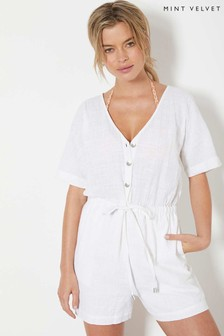 Mint Velvet White Textured Playsuit
