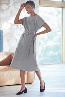 Grey Check Belted Midi Dress