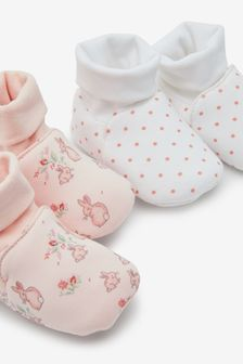 Pink 2 Pack Cotton Rich Pram Booties (0-18mths)