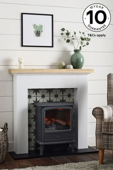 White Victorian Star Tiled Effect Fire Surround