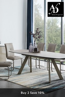 Cream Amalfi Extending Dining Table with 6 Chairs by Alfrank