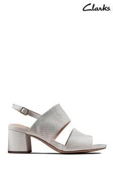 Clarks White Snake Sheer55 Sling Sandals