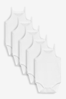 White 5 Pack Delicate Vest Bodysuits (0mths-3yrs)