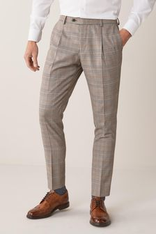 Taupe Slim Fit Check Suit: Trousers