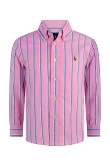 Boys Pink & Blue Striped Cotton Oxford Shirt