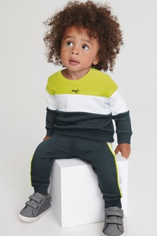 Lime and Navy Colourblock Crew And Jogger Set (3mths-7yrs)