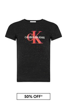 Girls Black Cotton T-Shirt