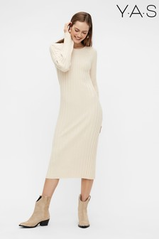 Y.A.S Nude Ribbed Knitted Midi Dress