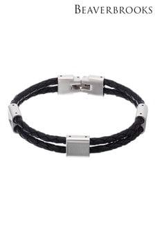 Beaverbrooks Steel And Black Leather Men's Bracelet