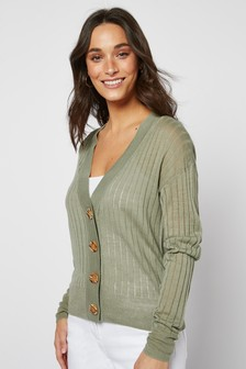 Khaki Linen Blend Button Front Cardigan