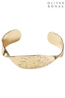 Oliver Bonas Gold Tone Sculptural Twist Brass Cuff