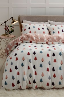 Fleece Winter Trees Duvet Cover and Pillowcase Set
