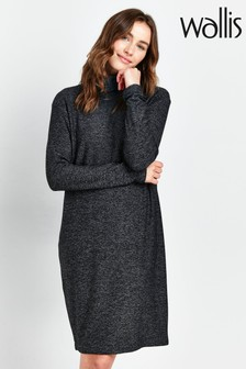 Wallis Charcoal Knitted Roll Neck