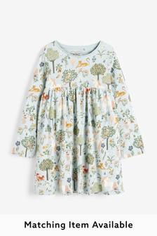 Teal Unicorn Jersey Dress (3mths-7yrs)