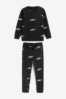 Black All Over Print Crew And Joggers Set (3-16yrs)