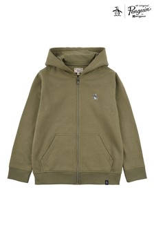 Original Penguin Green Zip Through Hoodie