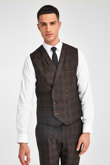 Brown/Orange Check Suit: Double Breasted Waistcoat
