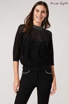 Phase Eight Black Adrienne Sunray Stud Knit Top