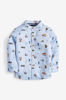 Blue Long Sleeve Animal Print Grandad Shirt (3mths-7yrs)